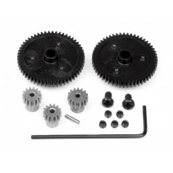 Gear Set - Spur x 2 54T (Std) & 53T, Pinion x 3 13T (Std), 14T & 15T