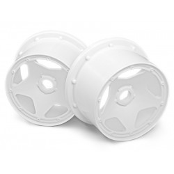 SUPER STAR WHEEL WHITE (120x75mm/2pcs) BAJA 5B/For Rear