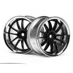 1/10 WORK XSA 02C WHEEL 26mm CHROME/BLACK (3mm OFFSET) (pcs)