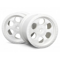 6 SPOKE WHEEL WHITE (83x56mm/2pcs) Savage/for 14mm Hex Wheel Hub