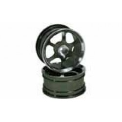 Titanium Color 6-spoke Aluminum Wheels 1 pair(1/10 Car)