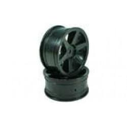 Black 6-spoke Wheels 1 pair(1/10 Car)