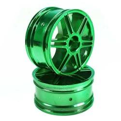Green 6 dual-spoke Painted Wheels 1 pair(1/10 Car)
