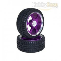 Purple 6-spoke Aluminum Wheels + Tires(1/10 Car)