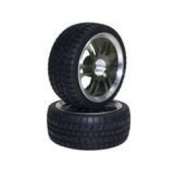 Titanium Color 6 Dual-spoke Aluminum Wheels + Tires (1/10 Car)