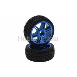 Blue 6 dual-spoke Painted Wheels + Tires (1/10 Car)