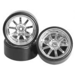 1/10 9 Spoke Wheel & Tyre Set For Drift(5mm Offset) -4pcs