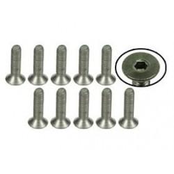 M3 x 12 Titanium Flat Head Hex Socket - Machine (10 Pcs)