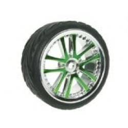1/10 5 Dual Spoke Rim & Tyre Set On Road (0 Offset - 24mm) 4pcs- Green