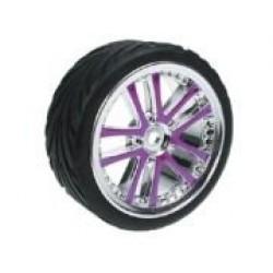 1/10 5 Dual Spoke Rim & Tyre Set On Road (0 Offset - 24mm) 4pcs- Purple