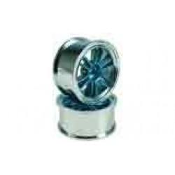 Blue/Silver 6 Dual Spoke Wheels 1 pair(1/10 Car, 4mm Offset)
