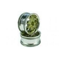 Golden/Silver 7 Y-Spoke Wheels 1 pair(1/10 Car, 3mm Offset)
