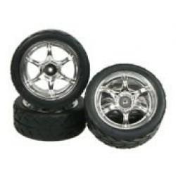 6 Spoke Tyre Set For GT-01 (4pcs)- Silver