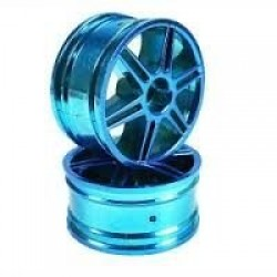 Blue 6 Curved dual-spoke Painted Wheels + Tires (1/10 Car)