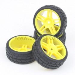 5-Spoke Wheel Rim&Tires Tyre Yellow 4 Adet